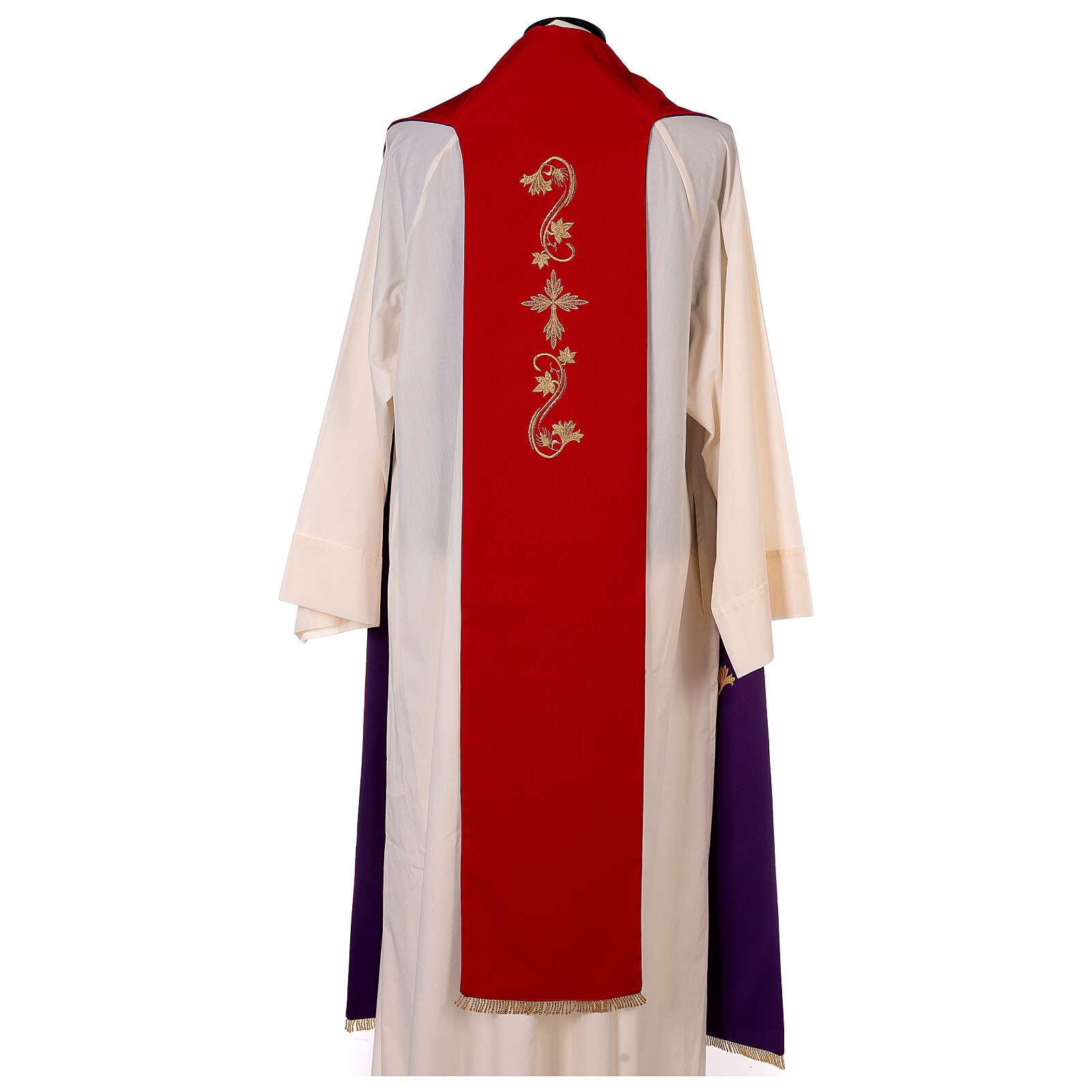 Étole trois bandes bicolore brodée 100% polyester rouge et violet 4