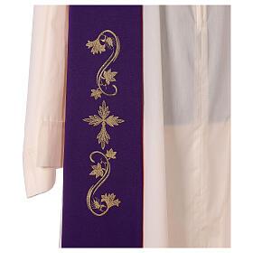 Étole trois bandes bicolore brodée 100% polyester rouge et violet s4