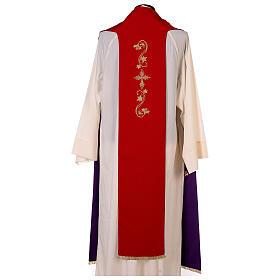 Étole trois bandes bicolore brodée 100% polyester rouge et violet s5