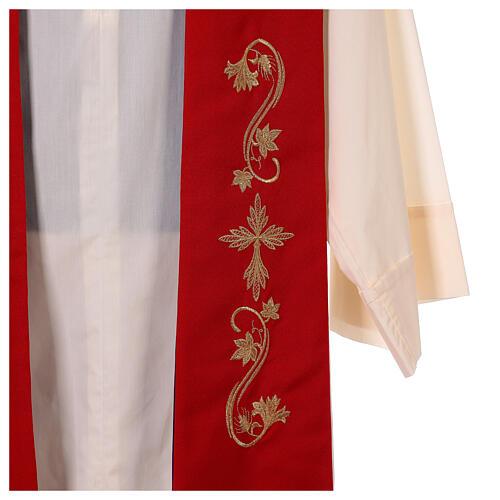 Étole trois bandes bicolore brodée 100% polyester rouge et violet 2