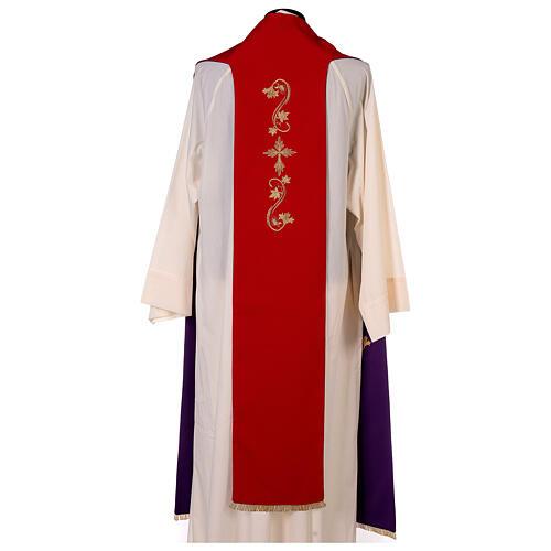 Étole trois bandes bicolore brodée 100% polyester rouge et violet 5