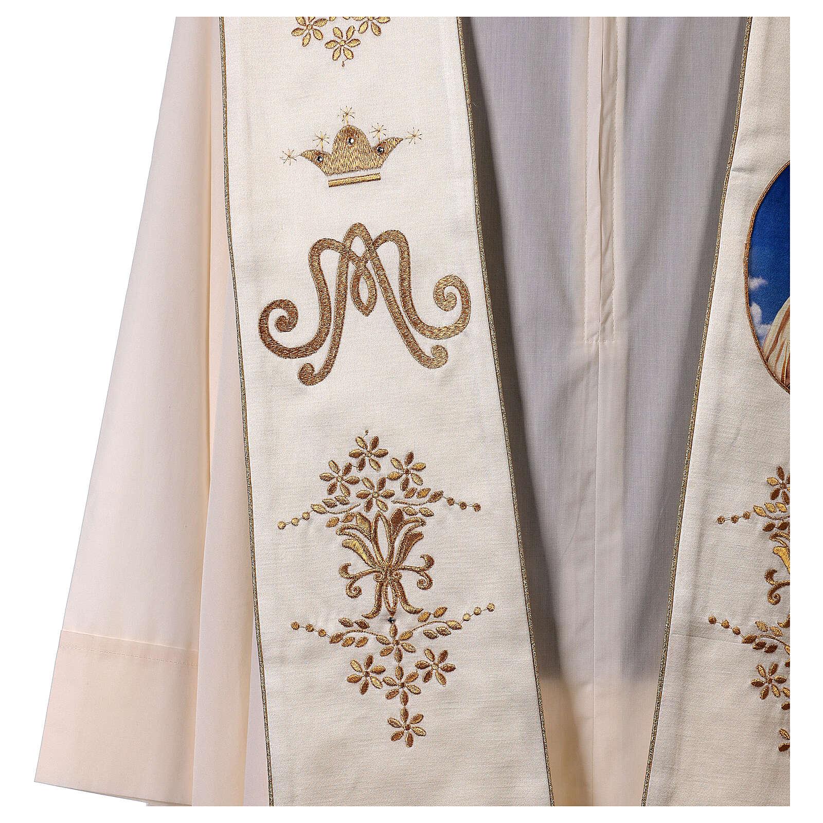 Estola mariana Fátima bordados oro cuentas strass 4