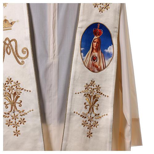 Estola mariana Fátima bordados oro cuentas strass 2