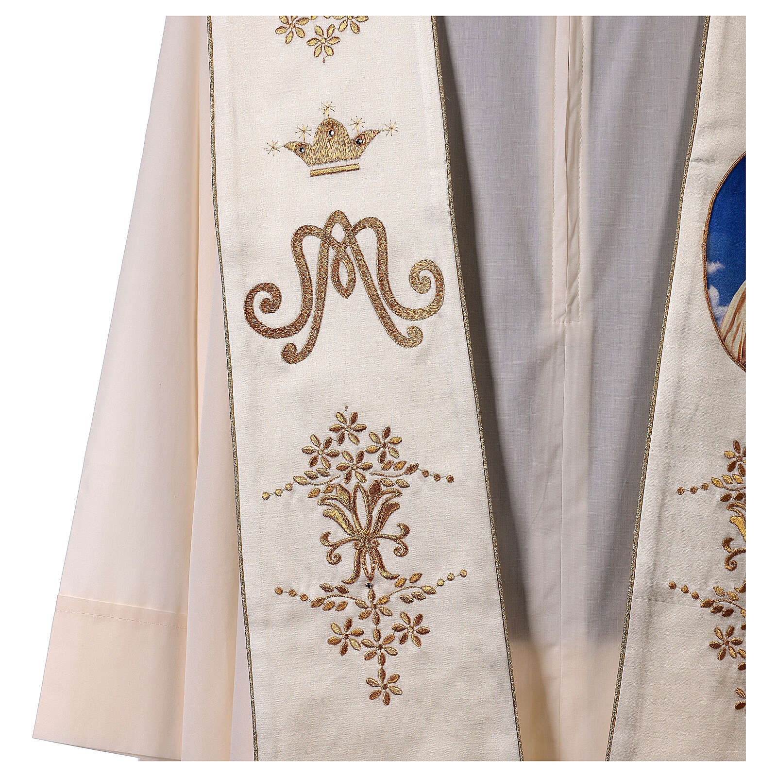 Stole with Marian and Fatima embroidery gold strass 4