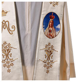 Stole with Marian and Fatima embroidery gold strass s2