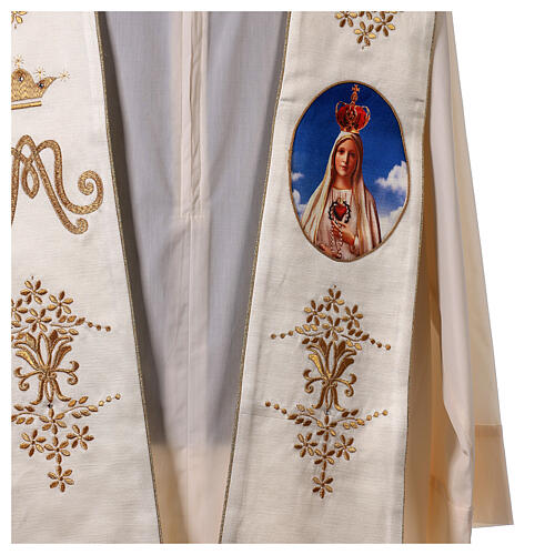 Stole with Marian and Fatima embroidery gold strass 2