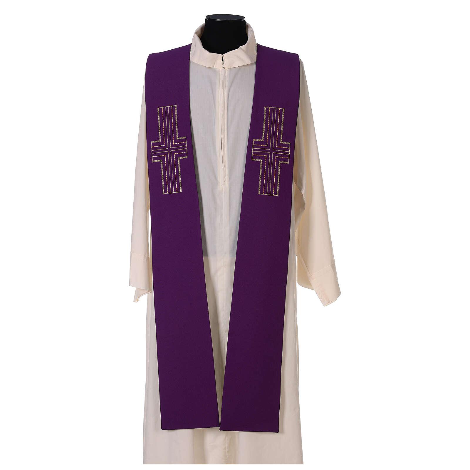 Étole liturgique bicolore verte et violette croix 100% polyester 4