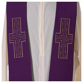 Étole liturgique bicolore verte et violette croix 100% polyester s3