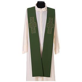 Étole liturgique bicolore verte et violette croix 100% polyester s4
