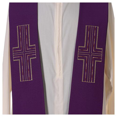 Étole liturgique bicolore verte et violette croix 100% polyester 3