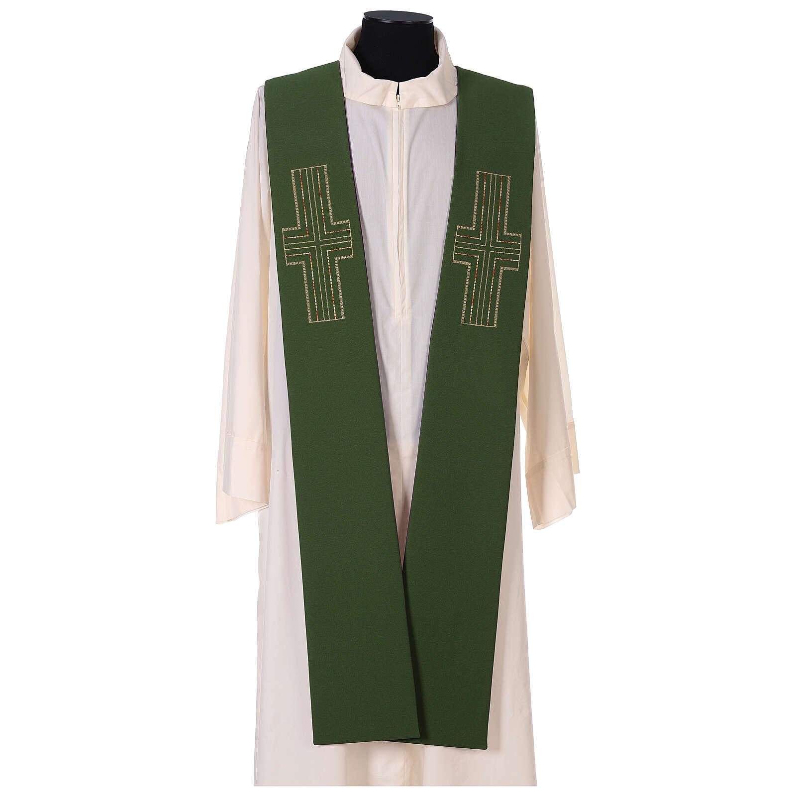 Tristola Liturgica bicolore verde e viola croce 100% poliestere 4