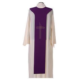 Tristola Liturgica bicolore verde e viola croce 100% poliestere s5