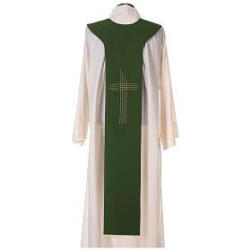 Tristola Liturgica bicolore verde e viola croce 100% poliestere s6