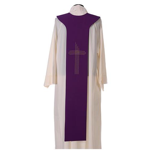 Tristola Liturgica bicolore verde e viola croce 100% poliestere 5