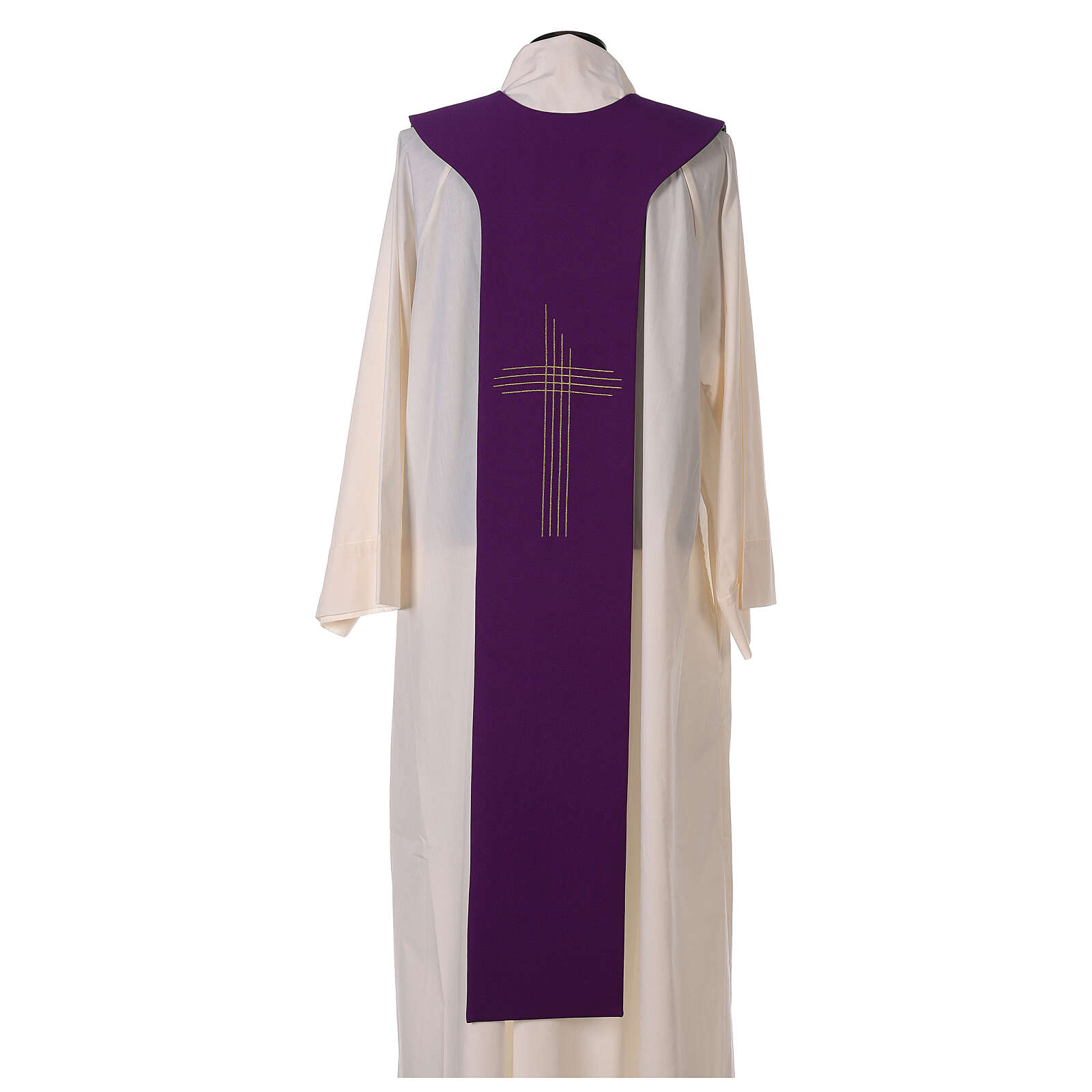 Liturgical tristole two-colored green and purple crosses 100% polyester 4