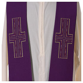 Liturgical tristole two-colored green and purple crosses 100% polyester s3