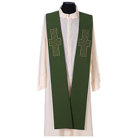 Liturgical tristole two-colored green and purple crosses 100% polyester s4