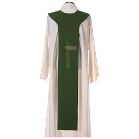 Liturgical tristole two-colored green and purple crosses 100% polyester s6