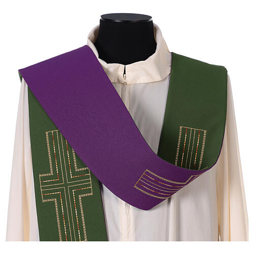 Liturgical tristole two-colored green and purple crosses 100% polyester 2