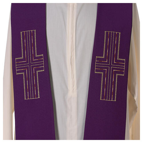 Liturgical tristole two-colored green and purple crosses 100% polyester 3