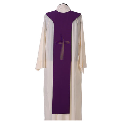 Liturgical tristole two-colored green and purple crosses 100% polyester 5
