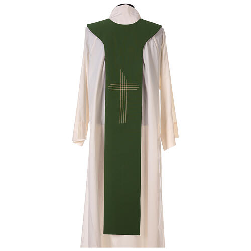 Liturgical tristole two-colored green and purple crosses 100% polyester 6