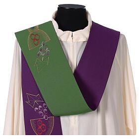 Tristola Liturgica calice e uva bicolore viola e verde 100% poliestere s2