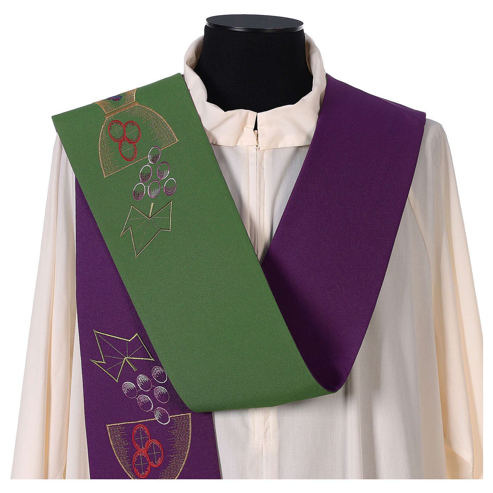 Liturgical tristole chalice and grapes two-colored green and purple 100% polyester 4