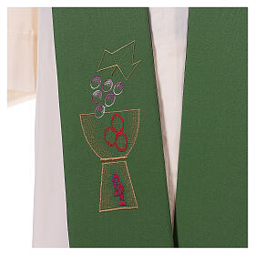 Liturgical tristole chalice and grapes two-colored green and purple 100% polyester s4