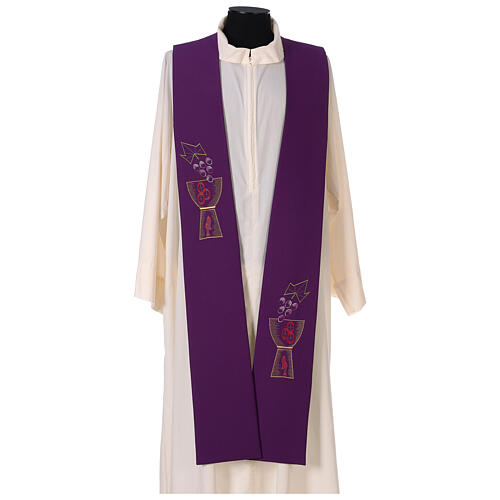 Liturgical tristole chalice and grapes two-colored green and purple 100% polyester 1
