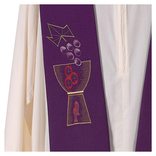 Liturgical tristole chalice and grapes two-colored green and purple 100% polyester 3