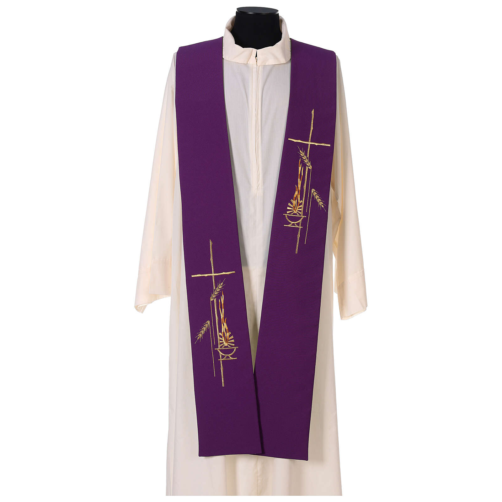 Étole liturgique bicolore verte et violette épis 100% polyester 4