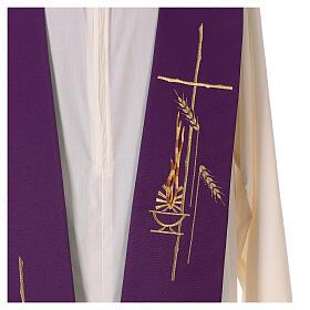 Étole liturgique bicolore verte et violette épis 100% polyester s3