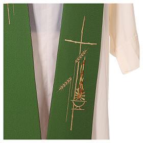 Étole liturgique bicolore verte et violette épis 100% polyester s4