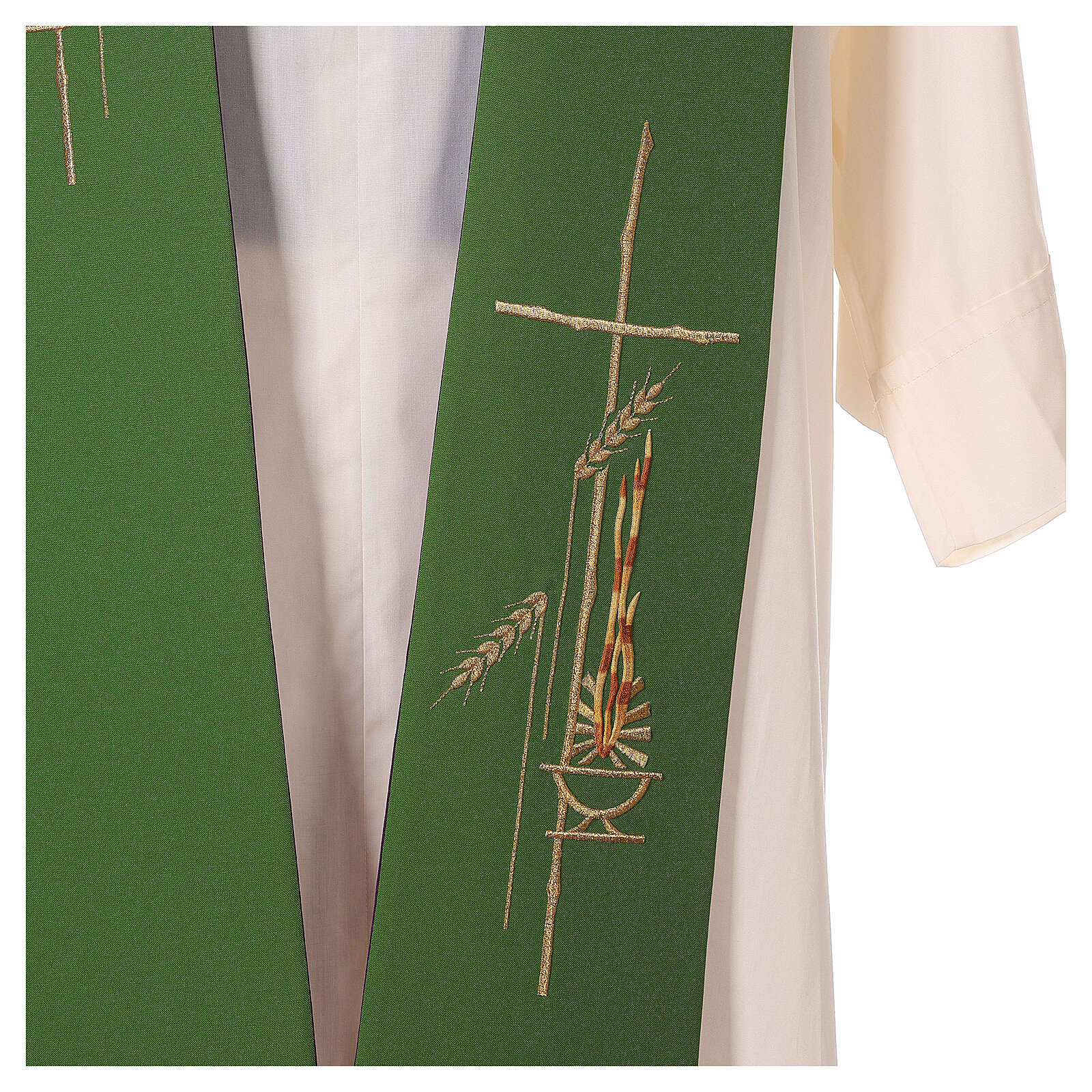 Tristola Liturgica grano bicolore viola e verde 100% poliestere 4
