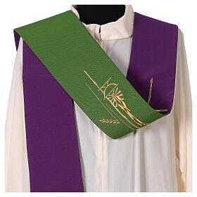 Tristola Liturgica grano bicolore viola e verde 100% poliestere s2