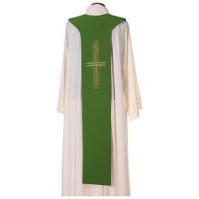 Tristola Liturgica grano bicolore viola e verde 100% poliestere s6