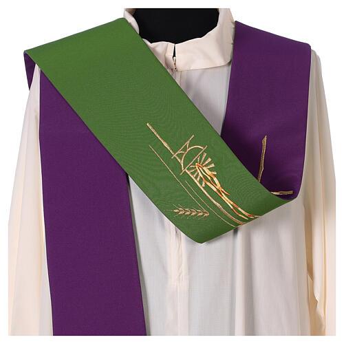 Tristola Liturgica grano bicolore viola e verde 100% poliestere 2