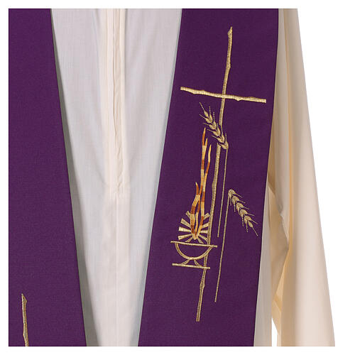 Tristola Liturgica grano bicolore viola e verde 100% poliestere 3