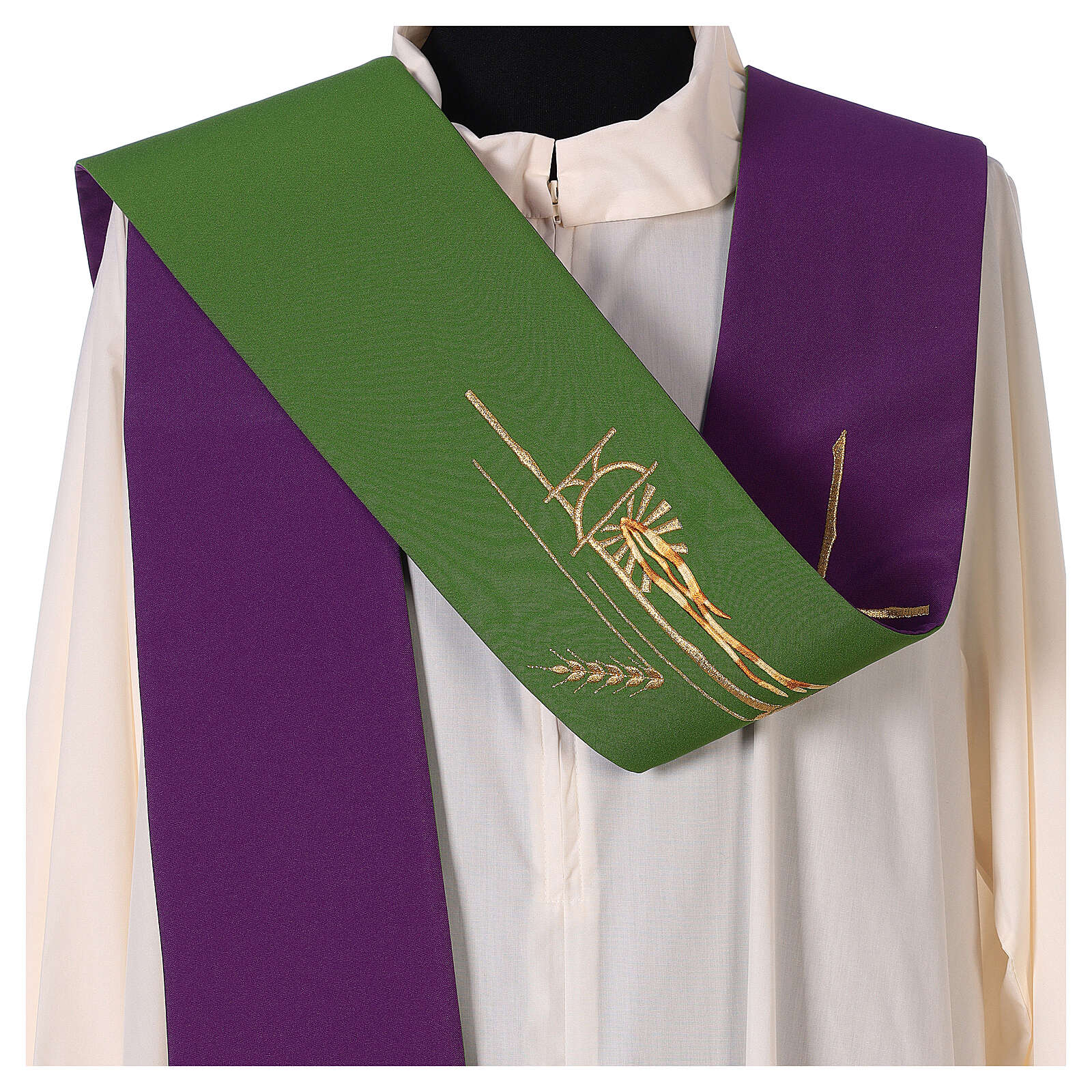 Liturgical tristole wheat two-colored purple and green 100% polyester 4