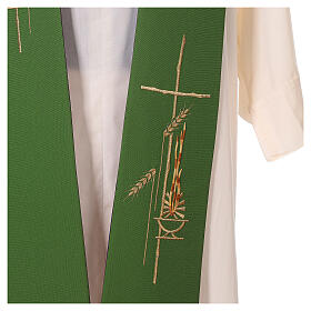 Liturgical tristole wheat two-colored purple and green 100% polyester s4