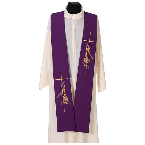 Liturgical tristole wheat two-colored purple and green 100% polyester 1