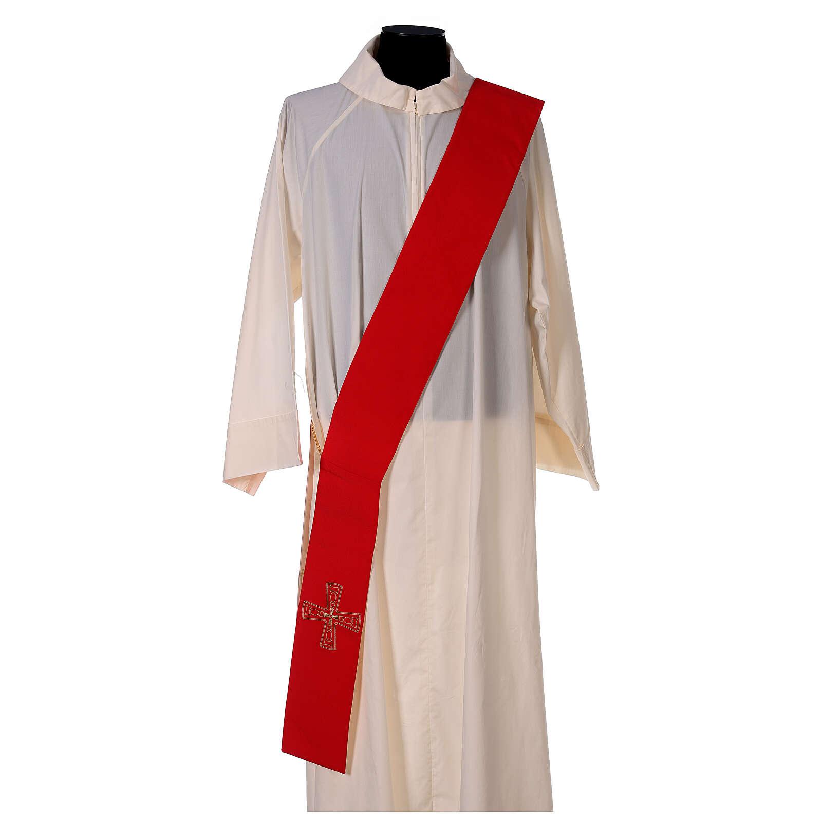 Stola diaconale con croci 100% poliestere bianco rosso 4