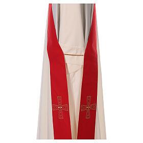 Stola diaconale con croci 100% poliestere bianco rosso s3