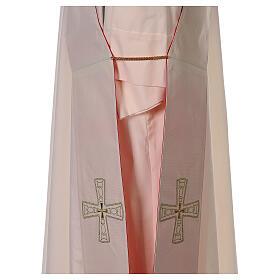 Stola diaconale con croci 100% poliestere bianco rosso s7