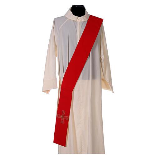 Stola diaconale con croci 100% poliestere bianco rosso 1