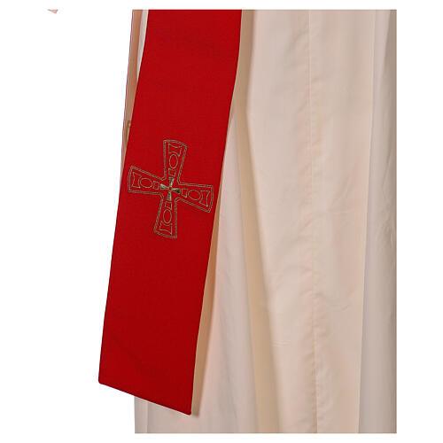 Stola diaconale con croci 100% poliestere bianco rosso 2
