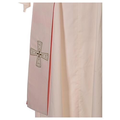 Stola diaconale con croci 100% poliestere bianco rosso 6