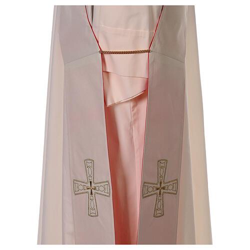 Stola diaconale con croci 100% poliestere bianco rosso 7