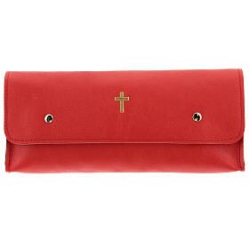 Rectangular stole burse of real red leather s1